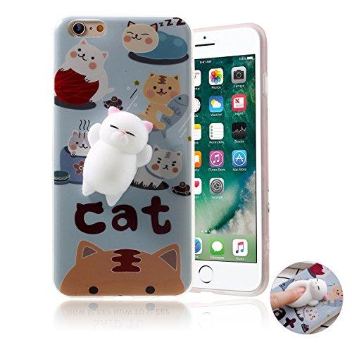 Cover iPhone 5 5s SE,Haobuy Squishy Kawaii Jumbo 3D Gatto Caso Cover, TPU Molle Carino Animale Slow Rising Stress Relief Coperchio del telefono per iPhone 7 -4.7pollice[blu] Modello 05
