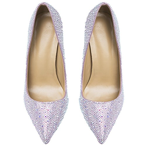 HooH Femmes Escarpins Bling Diamants bout pointu Semelle rouge Talons hauts Et Ballerines Mariage Chaussures Rose