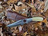 Hobby Hut HH-702, Machete 27.9 cm damast Stahl Jagdmesser, feststehende Full Tang Klinge, Extra Scharf, Camping Messer, Kamelknochen Griff, mit Scheide