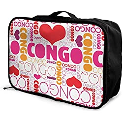 Qurbet Sacs de Voyage,Sac à Main, I Love Congo Pattern Overnight Carry on Luggage Waterproof Fashion Travel Bag Lightweight Suitcases