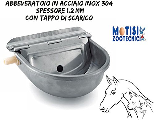 Abbeveratoio automatico per cani, cavalli, pecore, ecc. In acciaio inox 304, spessore 1,2 mm. con tappo di scarico per una veloce e facile pulizia.