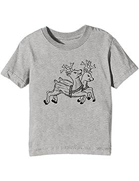 Reno Niños Unisexo Niño Niña Camiseta Cuello Redondo Gris Manga Corta Todos Los Tamaños Kids Unisex Boys Girls...