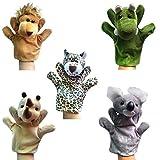 Happy Cherry - (Set de 5) Marionetas Juguetes Juegos de Manos Dedos de Animal Peluche para Bebés Niños niñas Cuentacuentos - León / Leopardo / Cocodrilo / Rinoceronte / Koala