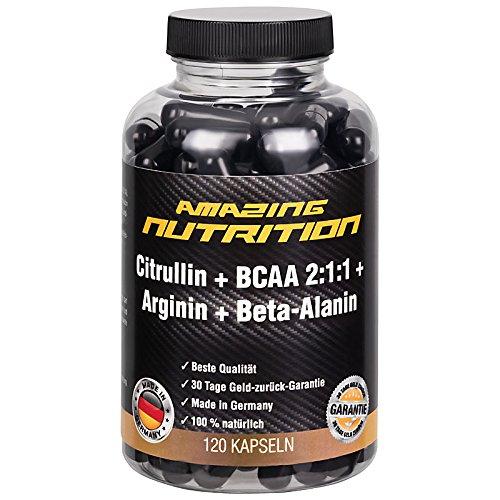 L-Citrullin + BCAA 2:1:1 + L-Arginin + Beta-Alanin - Pre Workout - 120 Kapseln - Hochdosiert - 4 Monatspackung - Made in Germany