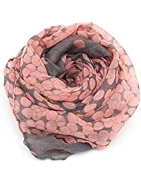 Ziory Grey and Orange Polka Dot Neck Scarf Soft Cotton Stole for Girls and Women