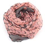 #9: Ziory Grey and Orange Polka Dot Neck Scarf Soft Cotton Stole for Girls and Women