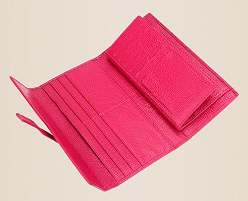 Longzibog Dual verstellbare Schultergurte und Hängeschlaufenband Mode geldbörse damen lang Licht Lila