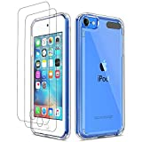 ULAK iPod Touch 7 Case, iPod Touch 6 5 Case with 2 Screen Protectors, Crystle Slim Soft TPU Bumper Hard Case for Apple iPod Touch 5th / 6th / 7th Gen (Latest Model 2019 Released), Clear