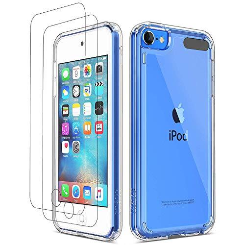 Ulak cover per ipod touch 7(2019), con due proteggi schermo in vetro temperato, ipod touch 6 5 custodia trasparente sottile cover in gel stampata, solida e resistente per ipod touch 7 6 5 gen, clear