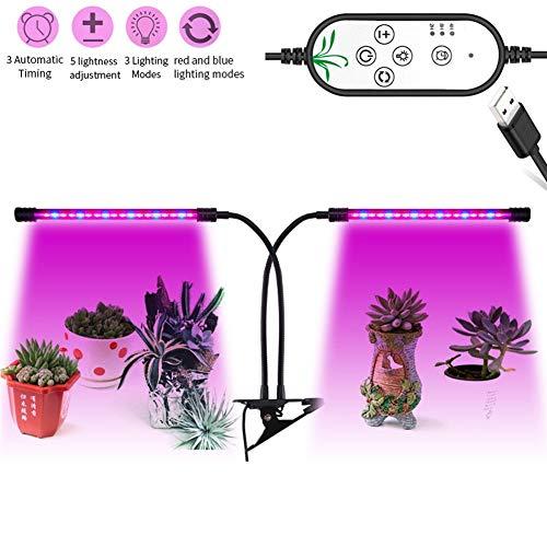 PIAOLING Pflanze wachsen Licht, 18W Dual-Head Timing LED dimmbare Pflanzenwachstumslampe für Zimmerpflanzen rot/blau Spektrum einstellbar Schwanenhals (Licht 250-watt-led Wachsen)