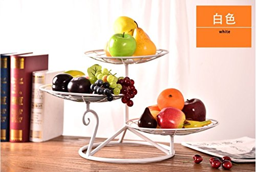 RUGAI-UE Wohnzimmer entfernen Korb Teller Obst Multilayer Dessertteller Kuchen Three Layers of White Thickening