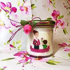 Idea Regalo - Grazie Maestra o Maestro Candela con disegno e ciondolo a scelta personalizzata con il nome della maestra in cera di soia regalo per la Maestra Ritorno a scuola Regalo di Natale