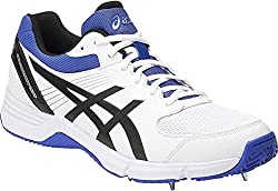 ASICS Mens Gel 100 Not Out Cricket Spikes Shoes - White, Black and Blue - 12UK/13US