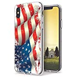 INKOVER Cover per Apple iPhone XS Max Custodia in TPU Trasparente Opaca Protettiva Guscio Sottile Slim Fit Morbida Design Bandiera Stati Uniti America Americana