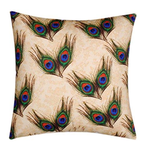 Peacock Print Seide (Beige mit Peacock Feathers Print Premium Qualität Seide Satin 20