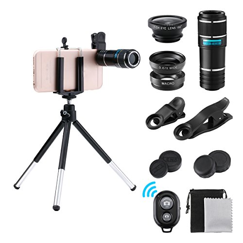 Phone Lens Kit, GLISTENY 6 in 1 Cell Phone Camera Lens Kit, 12X Telephoto Lens+180° Fisheye Lens+0.67X Wide Angle Lens+Macro Lens+Bluetooth Remote Shutter and Mini Tripod, Clip-On Mobile Phone Camera Lens Kit  for Ipad pro, Iphone 8 7 6 Plus, Samsung Smartphone