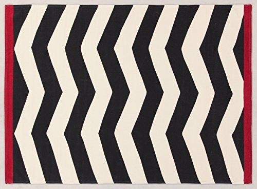 VIVA Tappeti  19736 Ikat Tappeto, Cotone, Bianco/Nero, 130 x 65 cm