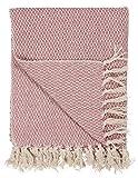 IB Laursen 6567-00 Plaid/Tagesdecke / Bettüberwurf - rosa/Creme - Baumwolle - 160 x 130 cm