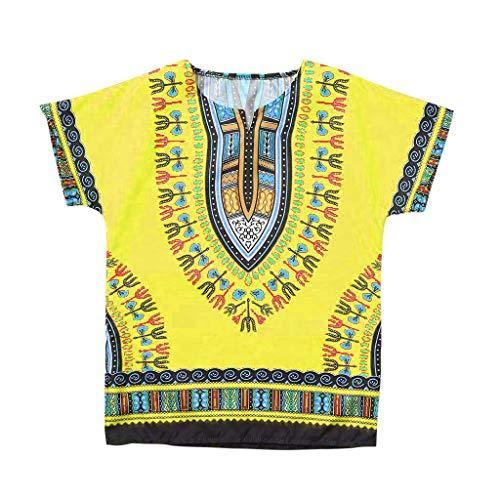 HEETEY Kinder T-Shirt Sommer Oberteile, Junge Mädchen Kinder Baby Unisex Helle afrikanische Farbe Kind Dashiki T-Shirt T-Stücke Sommerhemd Freizeit Blusentop -