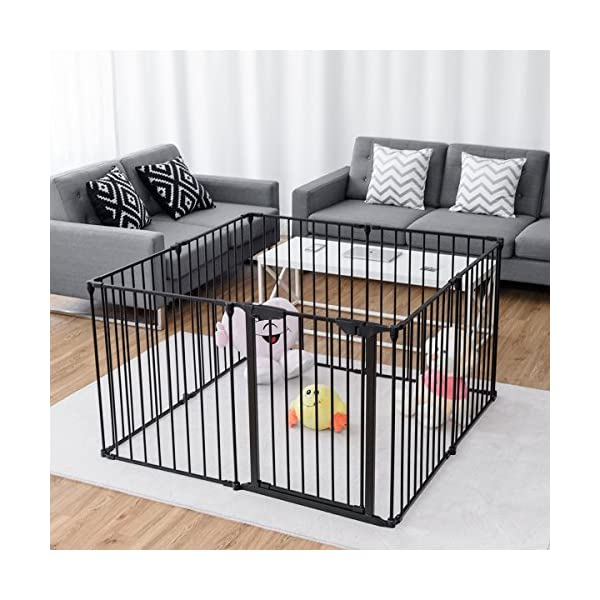 COSTWAY 6&8 Panel Baby Playpen Metal Foldable Design Multiple Use for Pet Fence, Room Divider, Yard Barrie, Fire Guard (8 Panels, Black) Costway 【Two installation modes】Our item have new 2 installation modes that it can be fully spliced as a circle or 2 sides unfurled to mounting on the wall. It can change flexibly according to your needs. It has the advantages of little space occupation, one object with multifunction, simple structure, and light weight. 【Safety door panel design】We have upgraded our door panel entirely to makes it safer. Different from the traditional straight opening door panel, our door panel has a special design that it needs to lift up while holding the switch to open it. 【Nail wall plastic parts set】Coming with a set of nail wall plastic parts, this set can meet your need to fix the item on the wall. When you want to change the installation mode, you can also leave these parts on the wall and only remove the item which will make your next installation more convenient. 7