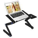 Crazy Laptop-Schreibtisch-Beweglicher Laptop-Stand Justierbarer Ergonomischer Laptop-Tisch mit 2 CPU-Kühlventilatoren und Aluminiummaus-Auflage, 360-Grad-Justierbare Beine