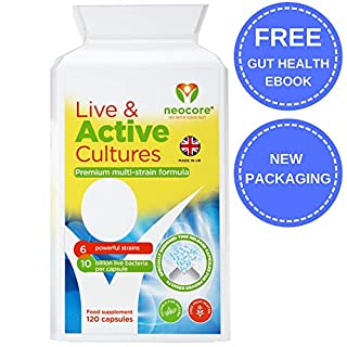 Probiotics for Adults by Neocore | Vegan Friendly | High Strength 10 Billion CFU with 6 live Strains & Prebiotic | 120 Time Release Capsules | Provides Bloating Relief and Gut Health Support | UK Made