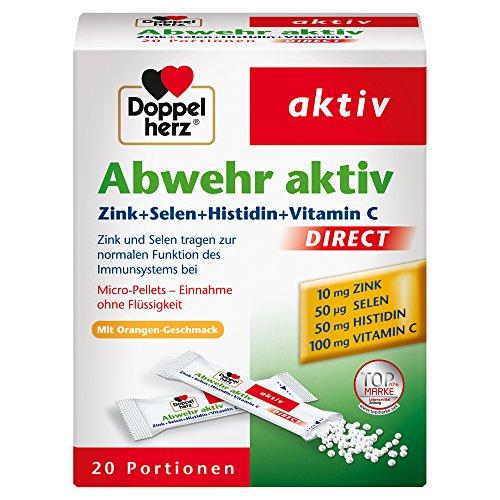 Doppelherz Abwehr aktiv DIRECT mit Orangen-Geschmack / Nahrungsergänzungsmittel mit Zink, Selen & Vitamin C zur Unterstützung des Immunsystems - plus Histidin / 20 Portionen (20 x Micro-Pellets)