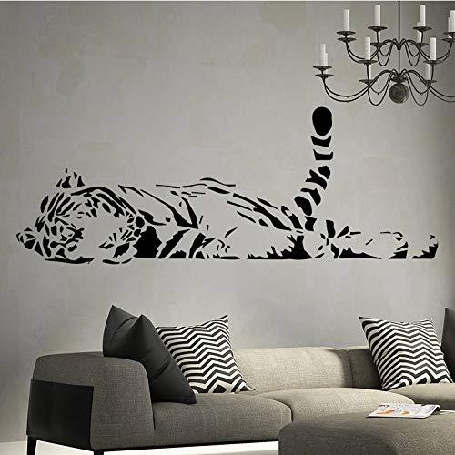 SLQUIET Tiger muster wandaufkleber vinyl wand applique tapete wohnzimmer vinyl kunst aufkleber dekoration silber 30x80 cm -