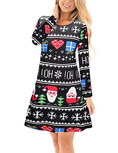 Eigenen Weihnachtsbaum Santas (Mädchen Weihnachtskleid Santa Xmas Tree Print Flared Swing Kleid Mini Kleid Schwarz)