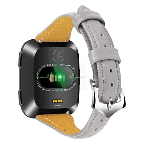 BZLine Heißer Verkauf Leder Uhrenarmband Luxury Leather Bands Ersatz Armband Zubehör Straps für Fitbit Versa (Grau)