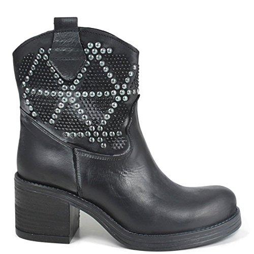 Stivaletti Biker Boots Bassi con Borchie e Strass Tacco Donna In Time 0176 Nero in Vera Pelle Made in Italy