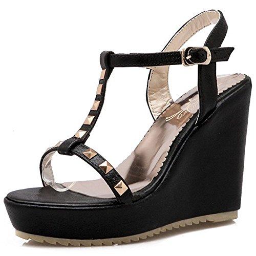 COOLCEPT Femmes Mode T-Strap Sandales Orteil ouvert Slingback Compenses Chaussures Noir
