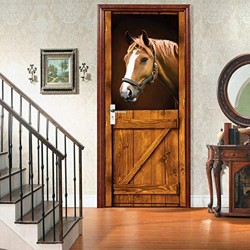 3D Türaufkleber Pferd, selbstklebende Wandtapete Vinyl Aufkleber, wasserdicht abnehmbar 77X200Cm -