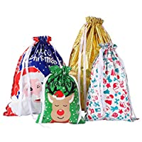 Amosfun Christmas Drawstring Gift Bags Gift Wrapping Bags Goodie Bags Party Favors Wraps for Birthday Xmas 30PCS