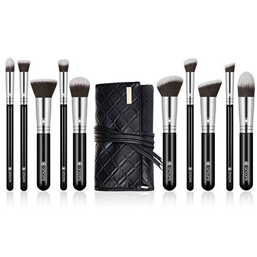 amoore 10 Stück Make Up Buersten mit der PU Leder Kosmetiktasche Make Up Pinsel Set Pinselsets Holzgriff (Schwarz)