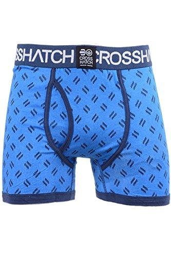 Uomo Crosshatch Pyramid Righe 2 Pack Cotone Elastico Boxer Biancheria Intima Tronchi D AZURE GRILLIS 3 PACK