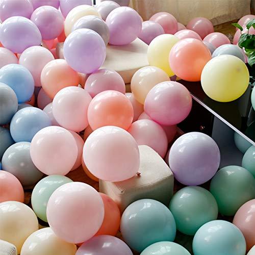 PuTwo Luftballons 100 Stück 10 Zoll Latex Party Luftballons Geburtstag Luftballons Hochzeitballons Party Deko und Party Zubehör für Geburtstag Hochzeit Weihnachten Baby Shower - Macaron Farbe