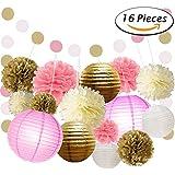 Paxcoo 16 Pcs Papier Tissu Papier Pom Poms Fleurs Lanternes Papier et Polka Dot Paper Guirlande pour Décorations de mariage