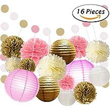Paxcoo 16 piezas de tejido de papel pompones Flores y linternas de papel del lunar de guirnaldas de papel para la boda Decoraciones del partido