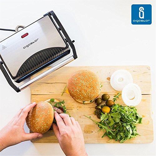 Aigostar Hett 30HHJ   Parrilla  grill  sandwichera y máquina de panini  1000 W de potencia  asa de toque frío  placas antiadherentes. Libre de BPA  color plata y negro. Diseño exclusivo.