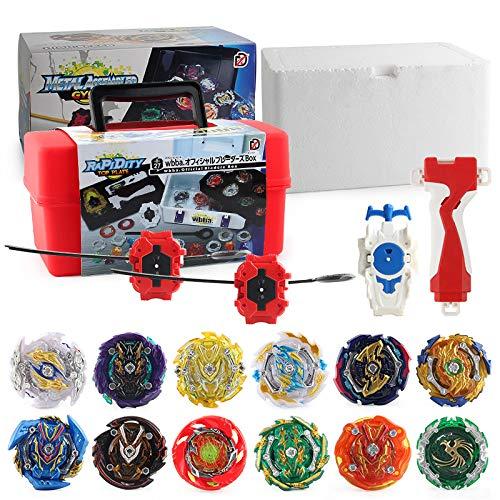 3T6B 12 Piezas Peonzas Juguetes Conjunto con Estuche Portátil,  Gyro Spinner con 2 Burst Turbo Launcher Set,  con Pocket Box,  Regalo Mejor para los Niños -  Rojo