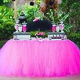 Falda de tabla de falda de la tabla de tul para la fiesta de cumpleaños de la fiesta de bienvenida al bebé de la princesa partido de la fiesta de bienvenida al bebé. (Rosa roja)