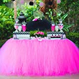 Tisch Tüllrock Hochzeit Tischdecken Handgemachte Deluxe elegante für Party Dekoration (Rose Red)