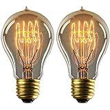 YUNLIGHTS 2pcs Edison Lámpara Regulable A19 Filamento Antigua 220V - 240V 40W 140lm Blanco Cálido Bombillas Edison