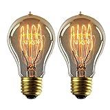 YUNLIGHTS 2pcs Edison Lámpara Regulable A19 Filamento Antigua 220V - 240V 40W 140lm Blanco Cálido...