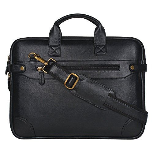 Gleam Synthetic Sleek Faux Leather 15.6-Inch Black Laptop Briefcase