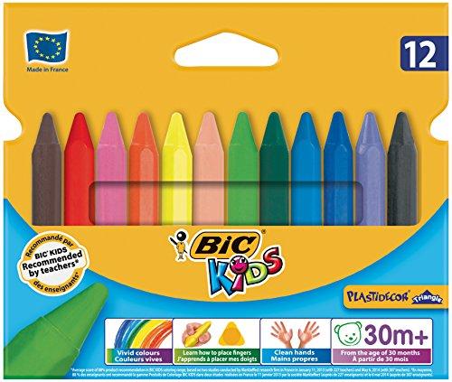Preisvergleich Produktbild BIC KIDS Dreikant-Wachsmalkreide PLASTIDECOR Triangle, 12 Farben sortiert,  Kartonetui à 12 Stück