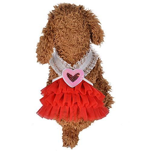 CplaplI Haustier-Kleidung, für den Sommer, mit Herz-V-Ausschnitt, Prinzessinnen-Kleid