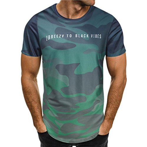 GreatestPAK Herren Camouflage Brief Drucken Sport Kurzes T-Shirt,Grün,S