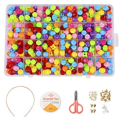 Phogary Kinder DIY Perlen Set (500pcs),DIY Armbänder Halsketten Perlen für die Schmuckherstellung Kinder Perlen Halskette Armband Machen Kit Perlen Geschenkset für Mädchen